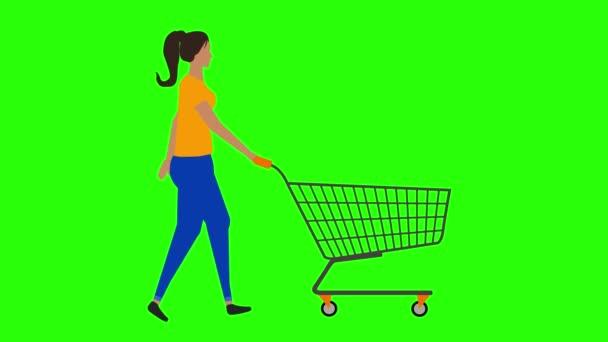 Women walking cycle seamless loop ,pulling the shopping cart, green screen chroma key animation, flat design