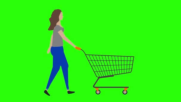 Women walking cycle seamless loop ,pulling the shopping cart, green screen chroma key animation, flat design