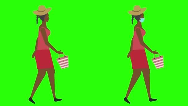 Women walking cycle seamless loop , face mask version, green screen chroma key animation, flat design