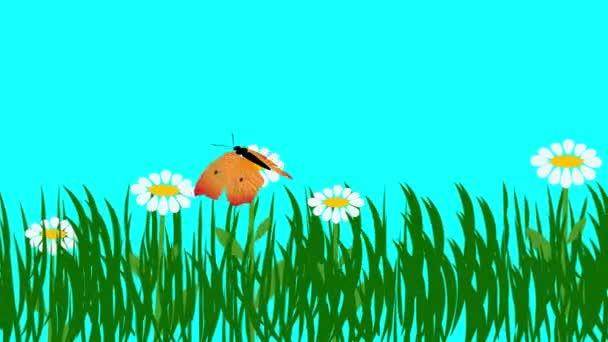Karikatura animace rostlin a květin, a motýl modrá obrazovka chroma klíč