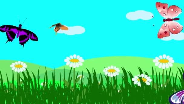 Rajzfilm táj, Tavaszi szezon animáció virágok és pillangó