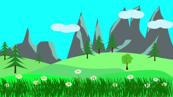 Cartoon Landscape, Spring season animation with flowers, Flat design