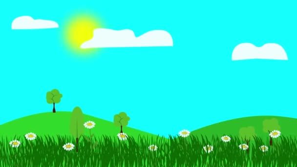 Cartoon Landscape, Jarní animace s květinami, Plochý design
