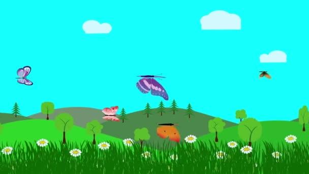 Cartoon Landscape, Frühlingsanimation mit Blumen und Schmetterling