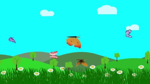 Kreslená krajina, jarní animace s květinami a motýlem