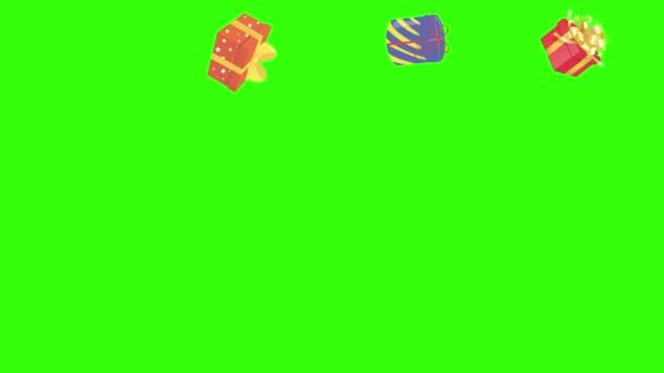 Skupinová animace dárkových krabic, chroma klíč, grafické prvky zdroje