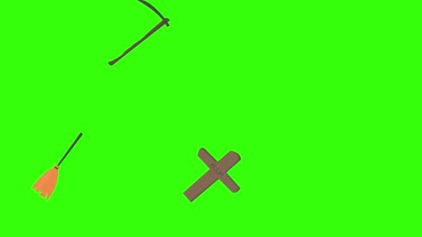 Skupina Halloween grafické prvky animace zelená obrazovka Chroma klíč