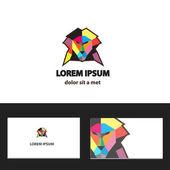 Fotografia modello di progettazione logo vettoriale astratta con business card