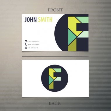 Business card template, letter F