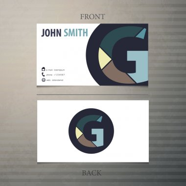 Business card template, letter G