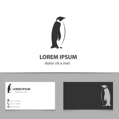 Abstract vector penguin logo design template with business card