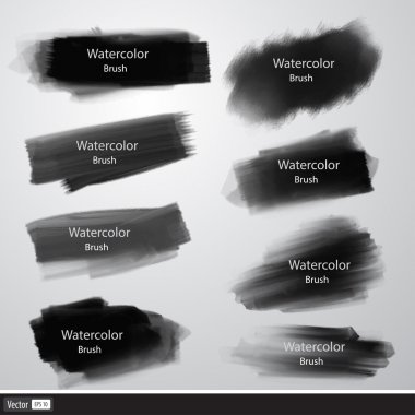 Vector set of watercolor brushes. Black brush strokes.