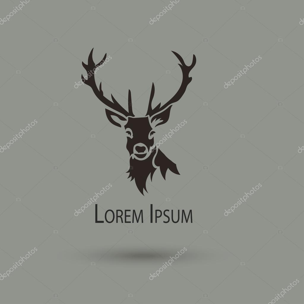 Artistic vector silhouette of a deer. Creative idea of a wild animal icons.