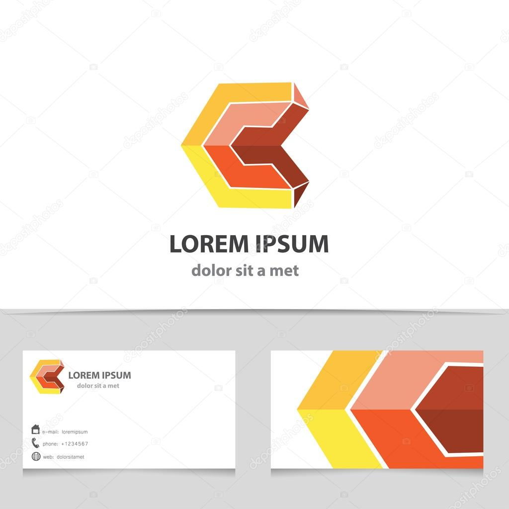 Vector abstract 3d shape letter c geometric business icon with vector abstract 3d shape letter c geometric business icon with business card template magicingreecefo Gallery