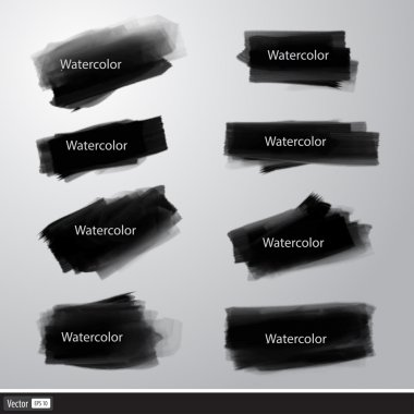 Set of vector watercolor brushes. Art black brush strokes.