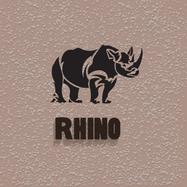 Vector silhouette rhinoceros. Stylized animal with background.