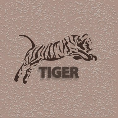 Vector silhouette tiger. Stylized animal with grungy background and text.