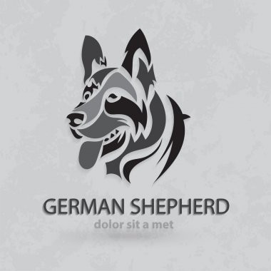 Vector stylized silhouette German Shepherd. Artistic creative design with grungy background.