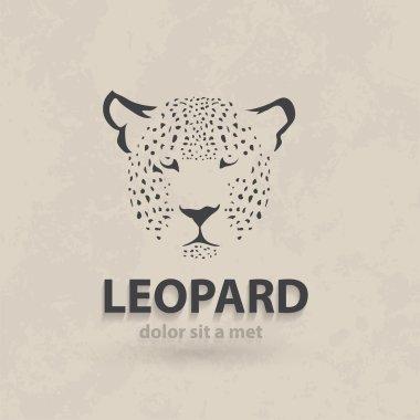Vector stylized silhouette face leopard. Artistic creative design. Retro style.