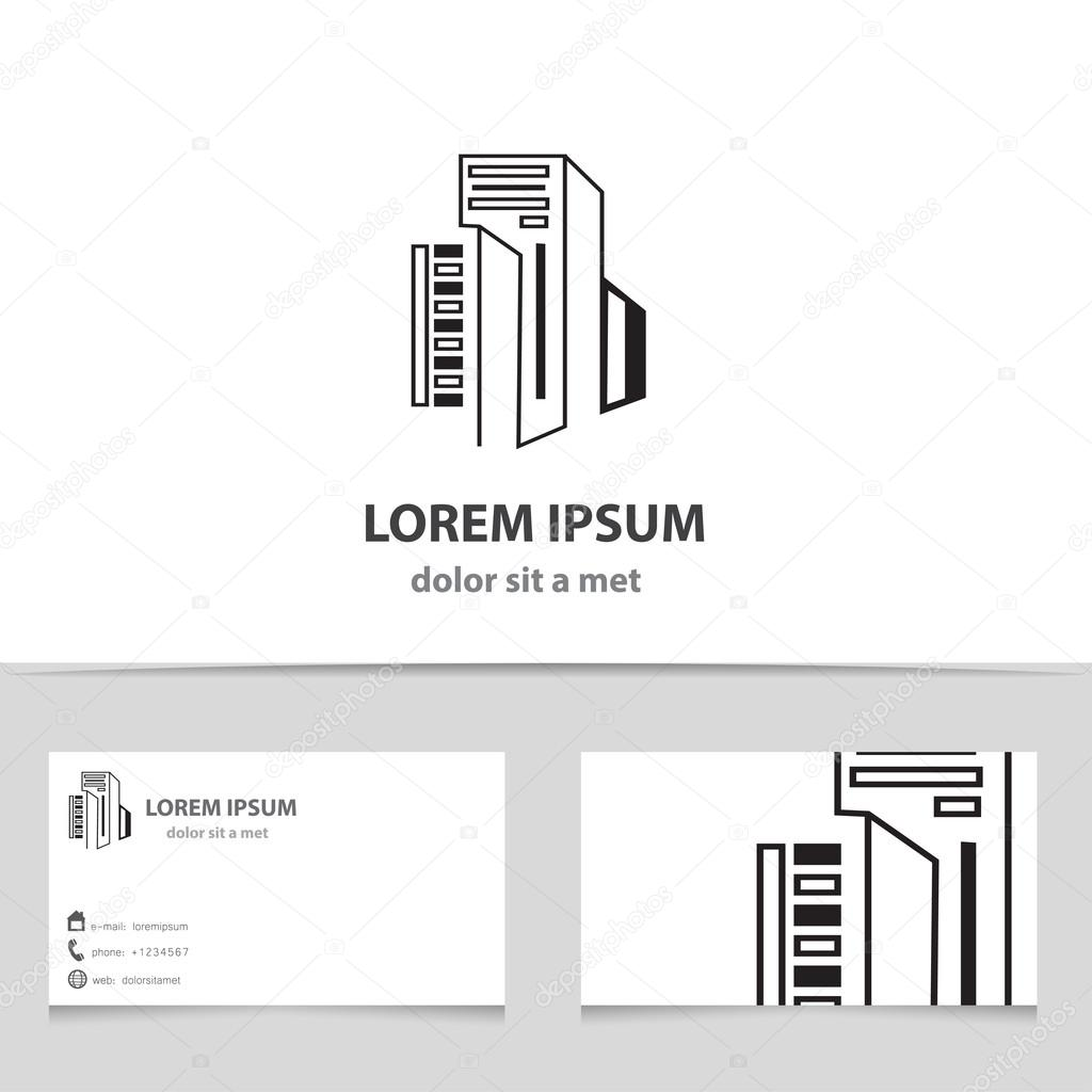 Vector icon building with business card template creative design vector icon building with business card template creative design architecture stock vector reheart Images