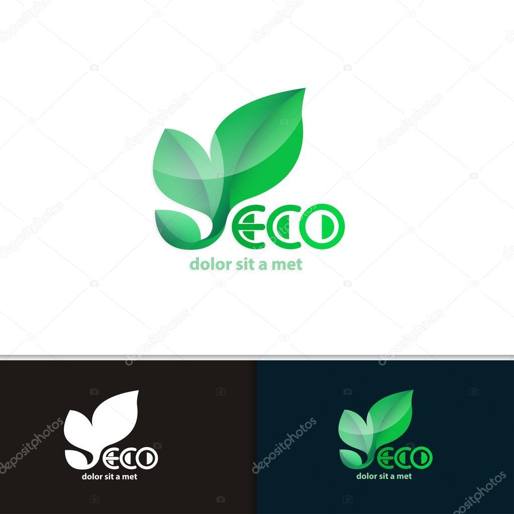 Vector creative environmental icon for your company. Modern design eco plants.