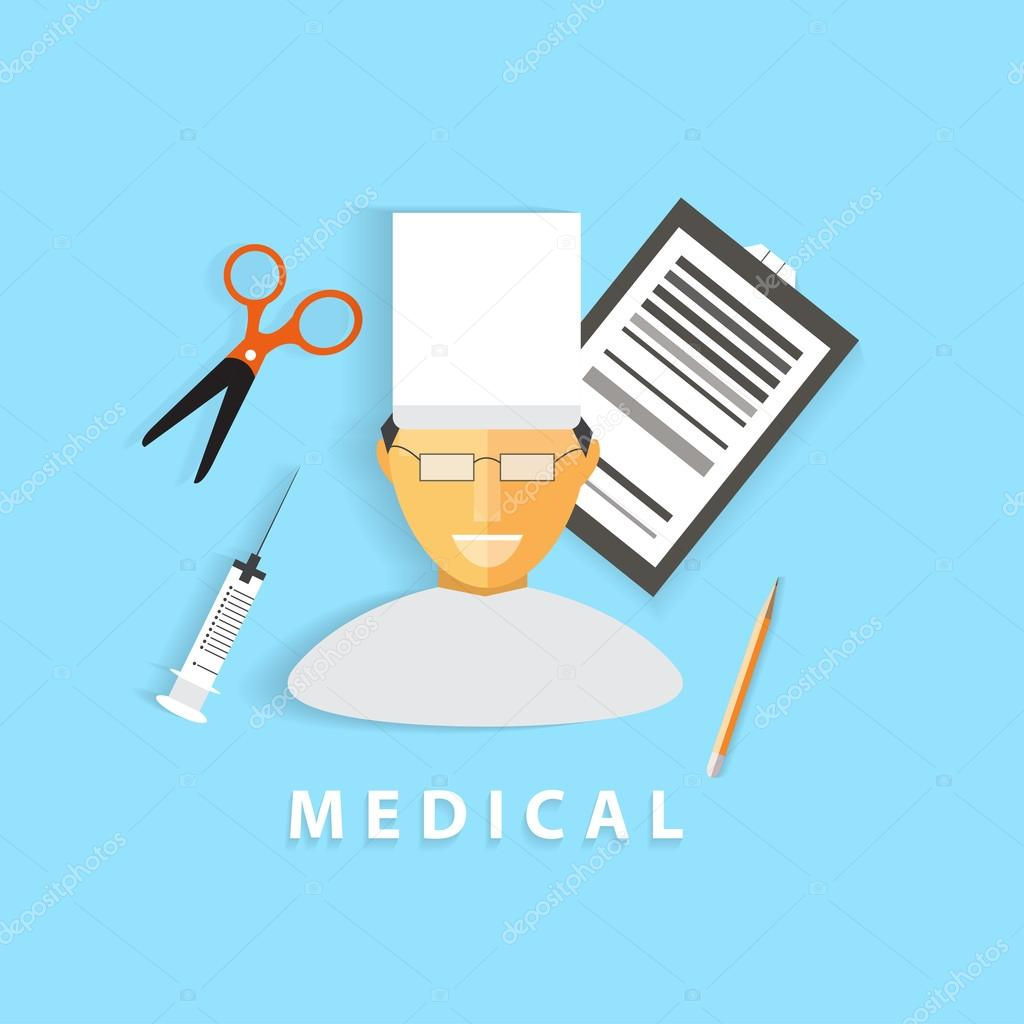 Creative healthcare and medical concept. Cartoon character in a uniform with flat icons. Modern trendy design. Vector illustration.