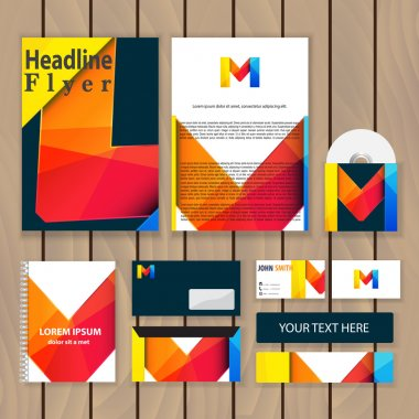 Creative colorful corporate identity. Trendy business concept with logo design template, letter m. Vector illustration.