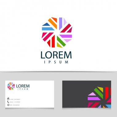 Abstract colorful infinity logo design. Hexagon logotype with business card template. Vector creative icon.