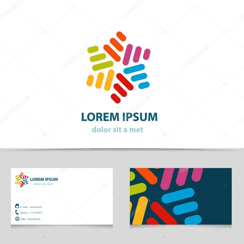 Abstract colorful infinity logo design star logotype with business abstract colorful infinity logo design star logotype with business card template vector creative icon reheart Choice Image