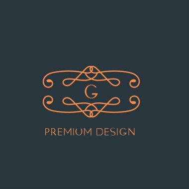 Artistic elegant floral monogram. Graceful line art logo design, letter G. Trendy business concept. Creative vector illustration.