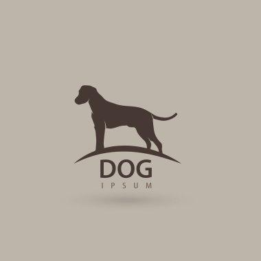 Stylized dog logo design. Artistic animal silhouette. Vector illustration.
