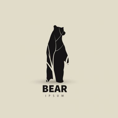 Stylized bear logo design template for your company. Artistic animal silhouette. Vector illustration.