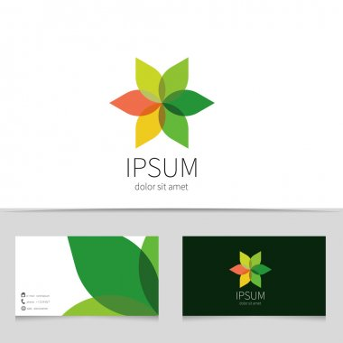 Creative flower logo design with business card template. Trendy eco concept logotype for your company. Vector illustration.