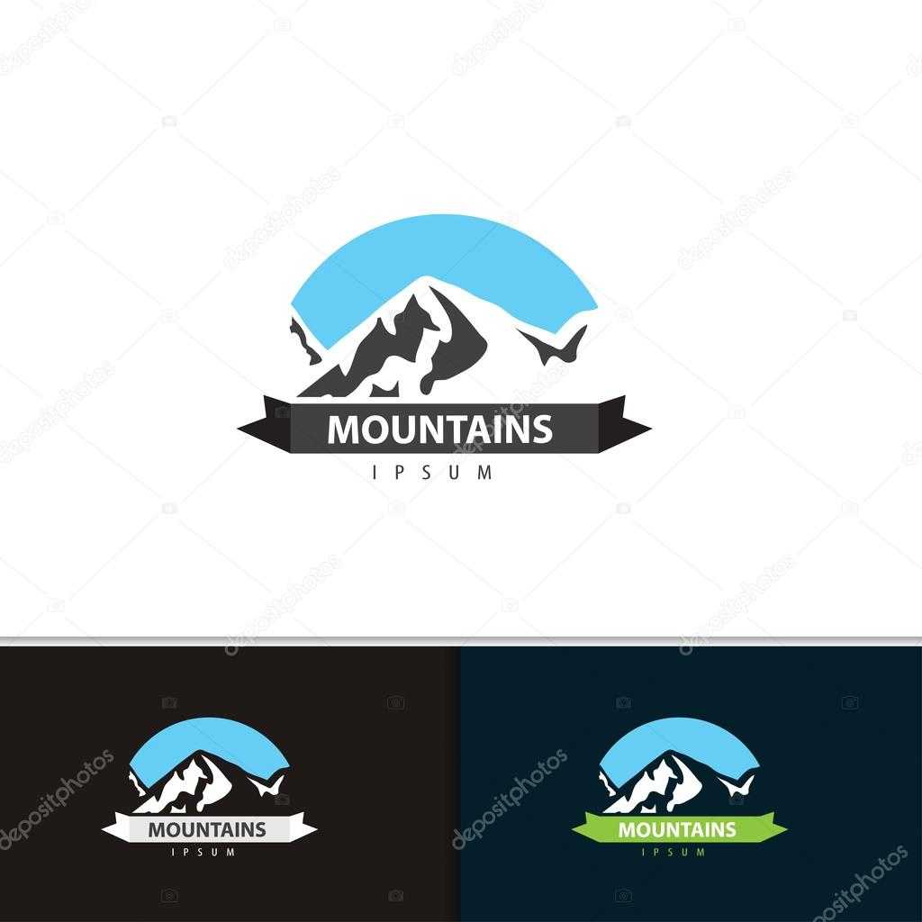 Mountain logo design. Tourism travel logotype template for your company. Vector set illustration.