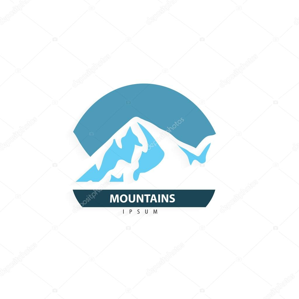Mountain logo design. Tourism travel logotype template. Trendy business concept. Vector illustration.
