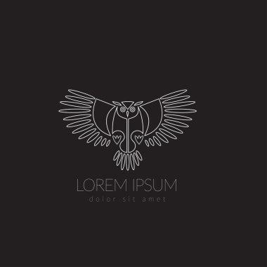 Artistic stylized owl icon. Silhouette birds. Creative art logo design. Vector illustration.