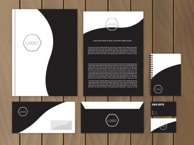 Classic black corporate identity. Stationery design template. Vector documentation for business.