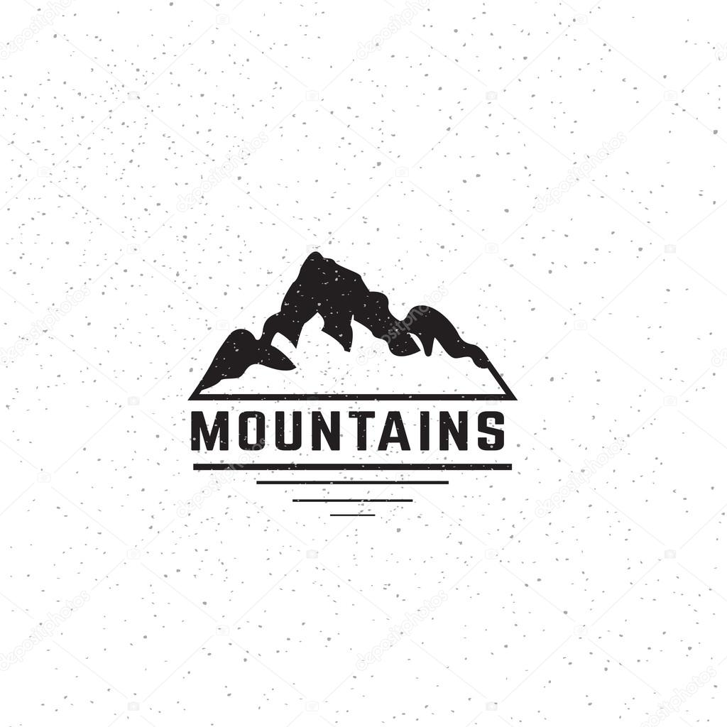 Mountains travel logo design template. Creative artistic concept logotype. Vector illustration.