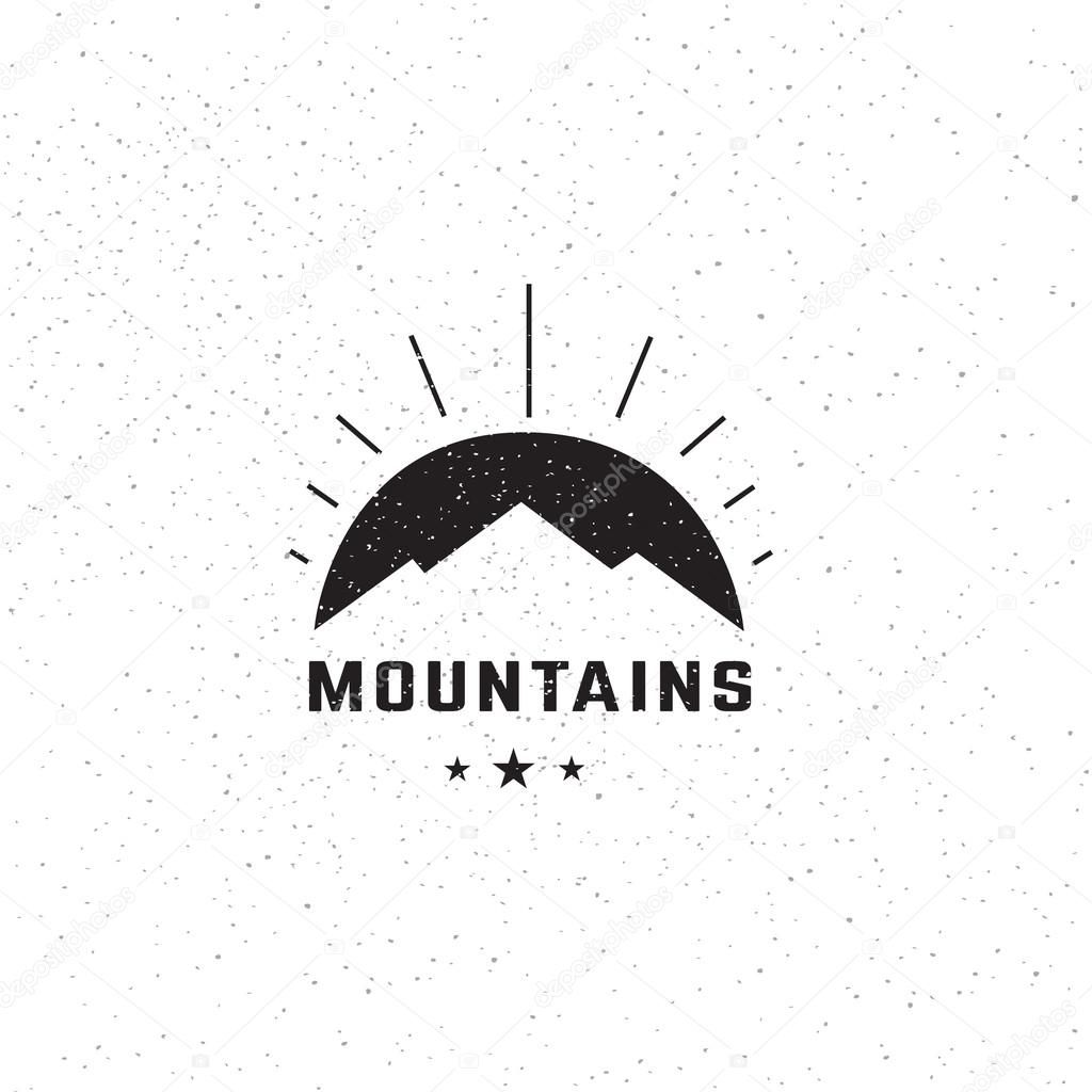 Tourism travel logo design template. Creative mountains concept logotype. Vector illustration.