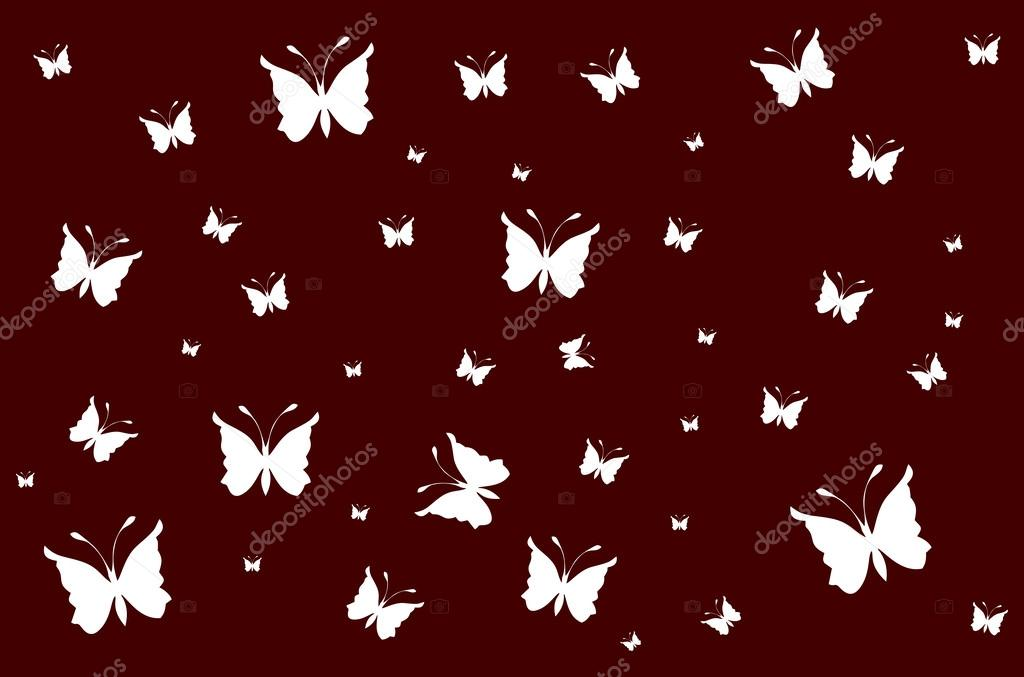 White Butterflies On Vinous Wallpaper Gradient Stock Vector