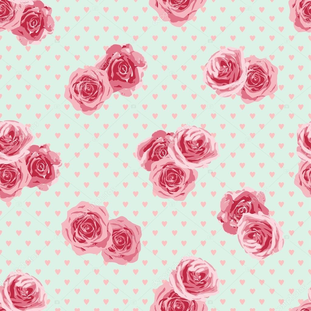 Flower seamless pattern with roses