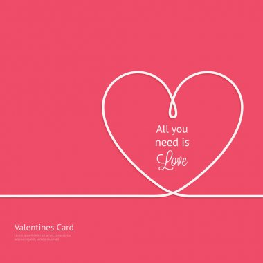 Valentines card with line heart and all you need is love phrase stock vector