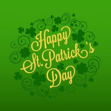 St. Patricks card with clover and typography