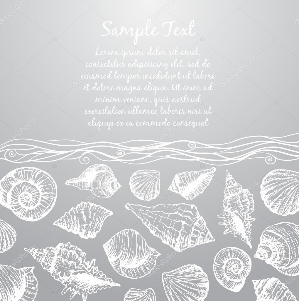 Hand drawn pattern with various seashells and place for text
