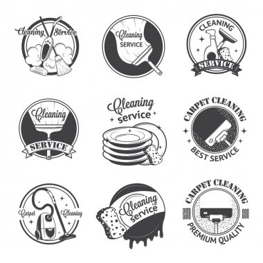 Set of vintage logos, labels and badges cleaning services