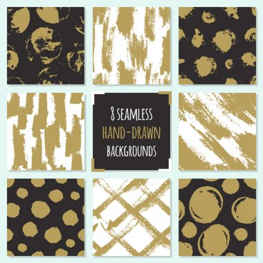 Set of 8 hand drawn seamless trendy patterns with ink brush strokes.. Isolated on white and black backgrounds