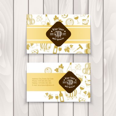 Set of business cards. Templates for wine company