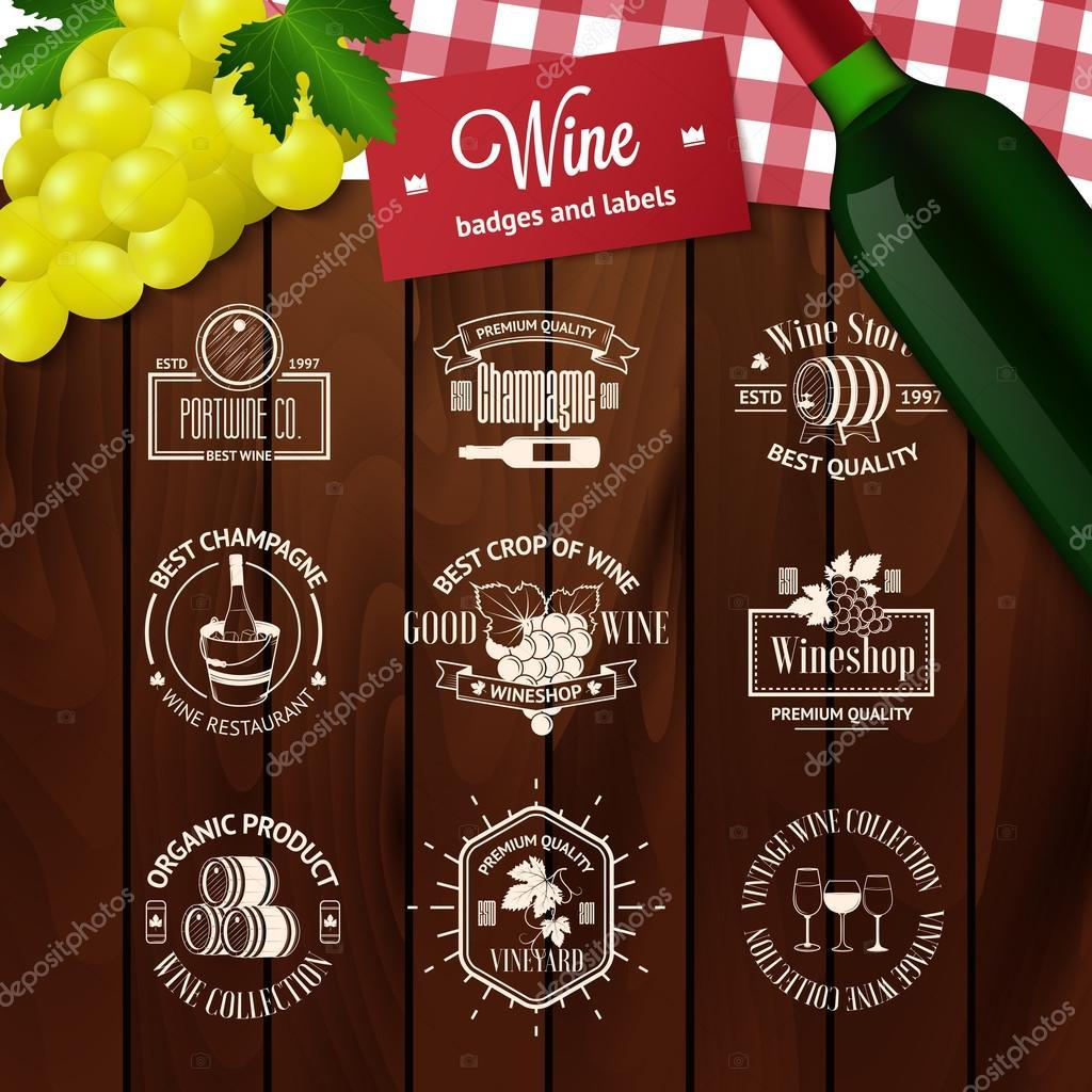 Satz von eleganten Wein Abzeichen und Etiketten. Vintage Logo ...