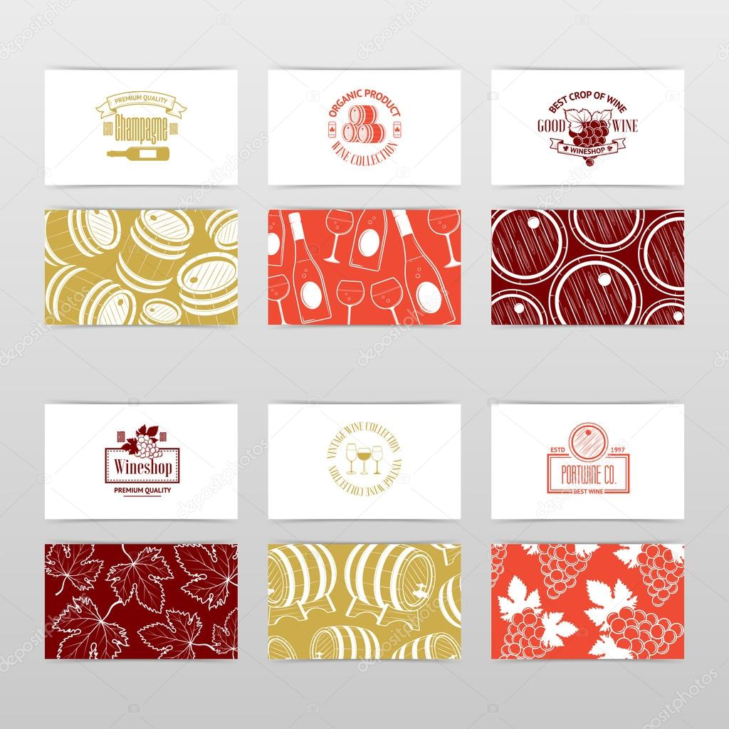 Set de tarjetas de visita. Plantillas para empresa de vinos — Vector ...