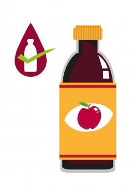 Apple Cider Vinegar illustration on a bottle. Editable Clip Art.